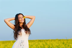 Smiling girl at summer outdoors royalty free stock image
