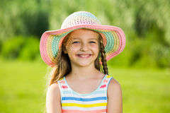 Smiling girl in sun hat Royalty Free Stock Photo