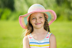 Smiling girl in sun hat Royalty Free Stock Photography