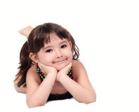 Smiling girl in swim suit with hands on chin Royalty Free Stock Images