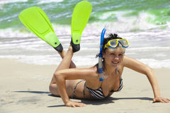 Smiling girl in swimming mask and fins Royalty Free Stock Photo