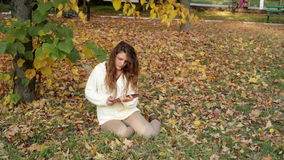 Smiling girl with tablet on the autumn landscape, outdoors stock video footage