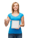 Smiling girl with tablet pc computer Stock Image