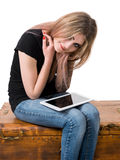 Smiling girl with tablet pc computer Royalty Free Stock Photos