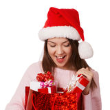 The  smiling girl  take the red bag Royalty Free Stock Photos