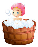 A smiling girl taking a bath. Illustration of a smiling girl taking a bath on a white background Stock Image