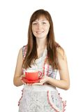 Smiling girl with tea cup Royalty Free Stock Image