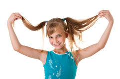 Smiling girl, a teenager. Smiling girl supports her hair raised in the upper arms Stock Photos