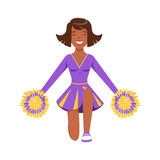 Smiling girl teenager dancing with colorful pompoms. Colorful cartoon character vector Illustration. Smiling girl teenager dancing with colorful pompoms. Purple Stock Photo