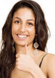 Smiling girl thumbs up. Smiling beautiful girl making thumbs up sign Royalty Free Stock Photos
