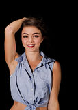 Smiling girl with tied up top Royalty Free Stock Photo