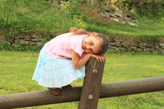 Smiling girl on timber. Smiling little girl in blue skirt pink t-shirt standing on wooden timber stock photography
