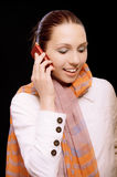Smiling girl to call by phone Stock Photo