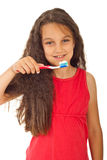 Smiling girl with toothbrush Royalty Free Stock Photo