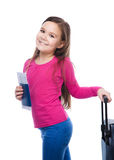 Smiling girl with travel bag, ticket and passport Stock Photography