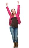 Smiling Girl with Two Hands in the Air Royalty Free Stock Photos