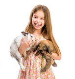 smiling girl with two  rabbits Stock Photo
