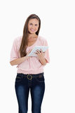 Smiling girl using a touchpad Stock Photo