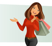 Smiling Girl. Vector illustration of a smiling girl shopping Royalty Free Stock Photo