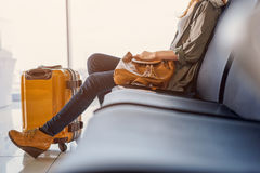 Smiling girl waiting for boarding Stock Photos