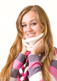 Smiling girl in warm clothes Royalty Free Stock Photos