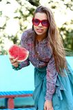 Smiling girl with watermelon Royalty Free Stock Photography