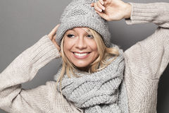 Smiling girl wearing cool stylish winter clothing for comfort Stock Photography