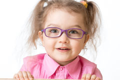 Smiling girl wearing glasses closeup portrait royalty free stock photos