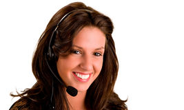 Smiling Girl Wearing Headset Royalty Free Stock Photography