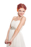 Smiling girl in a wedding dress Royalty Free Stock Photos