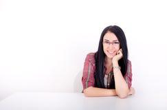Smiling girl on white background Royalty Free Stock Photos