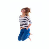 Smiling  girl in white blank t-shirt jumping Stock Photos