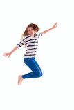 Smiling  girl in white blank t-shirt jumping Royalty Free Stock Image