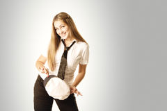 Smiling girl with white cap Royalty Free Stock Images