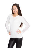 Smiling girl in a white jersey. Mixed race Asian Caucasian girl Royalty Free Stock Photos