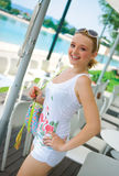 Smiling girl in white summer clothes Royalty Free Stock Photography