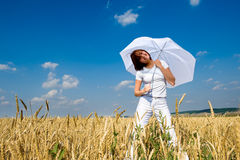 Smiling girl with white umbrella Stock Photography