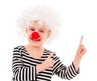 Smiling girl in white wig and pointing up Royalty Free Stock Photo