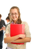 Smiling girl wiht a  book Stock Images