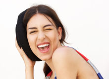 Smiling girl winking eye Royalty Free Stock Photo