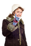 Smiling girl in winter coat Stock Image
