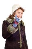 Smiling girl in winter coat stock image