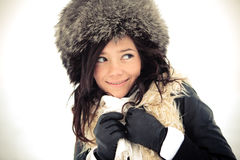 Smiling girl in winter hat Stock Photography