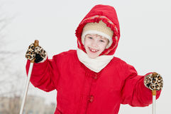 Smiling girl at winter outdoors Stock Image