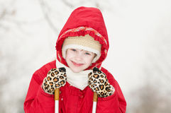 Smiling girl at winter outdoors Stock Photos