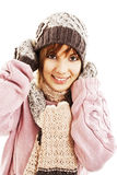 Smiling girl in winter style Stock Photos