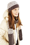 Smiling girl in winter style, looking up. Royalty Free Stock Photo