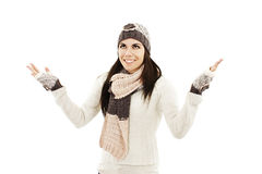 Smiling girl in winter style, looking up Royalty Free Stock Photography
