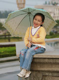 Smiling Girl With A Umbrella Royalty Free Stock Photos