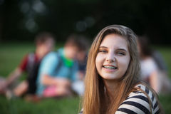 Smiling Girl With Braces Royalty Free Stock Images